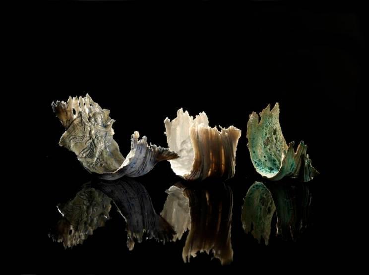 Three Glazed Porcelain Waves 3.-kopi lo res