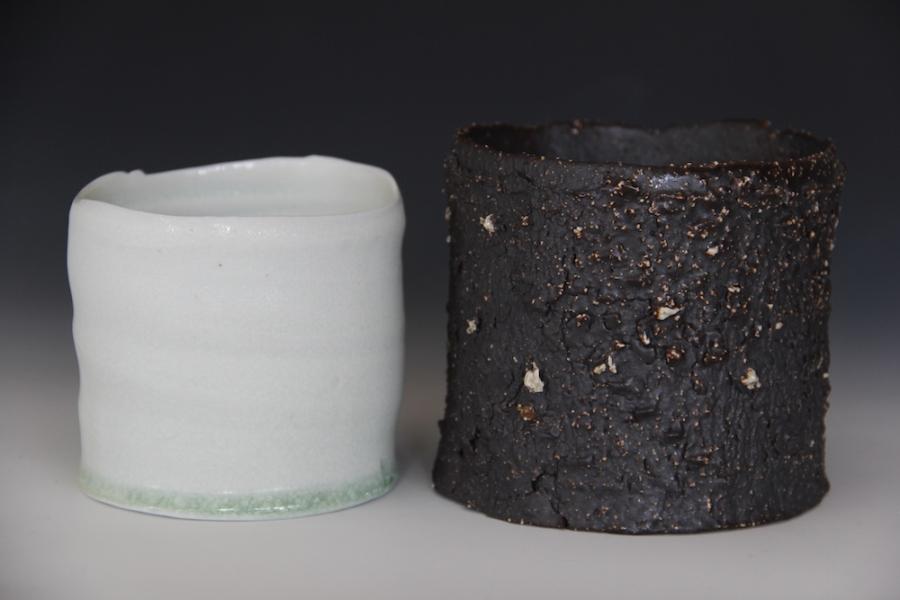 24. Sandy Lockwood - 'Black and White Pair' - woodfired saltglazed stoneware and porcelain 2014 resized