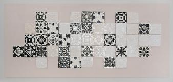 J Kay Aplin black and white Portuguese tile installation