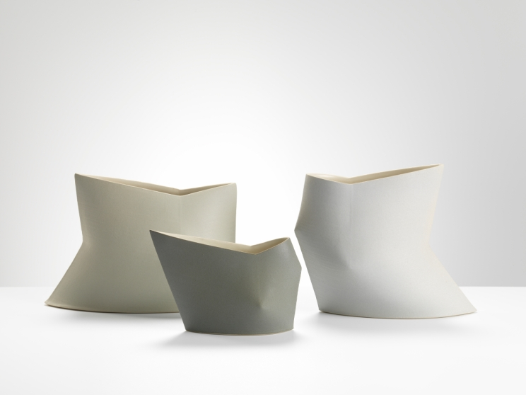 Sun Kim, Geometric vases, High fired stoneware, 2016