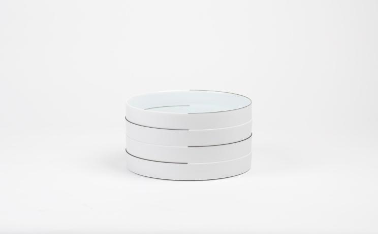 Name: Cylinder Material: Porcelain, Stoneware, Wheel thrown, 1280°C reduction firing. Dimensions: (L) ø7.2cm x 21cm, (R) ø7.8cm x 19cm, 2016