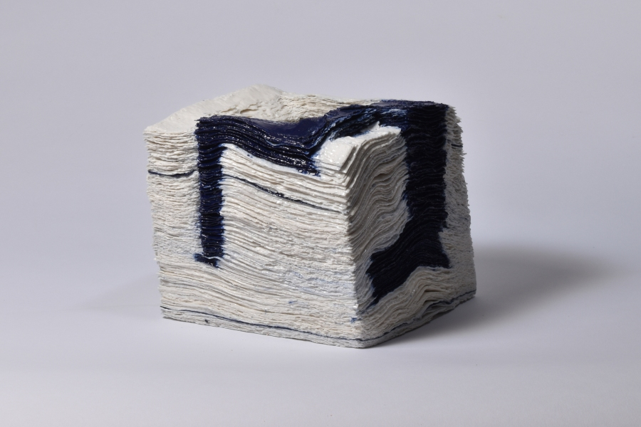 Jongjin Park, Artistic Stratum_WC4, 1000 sheets of tissue paper, porcelain with cobalt Dimensions (W x D x Hcm): 15x15x16cm, 2016