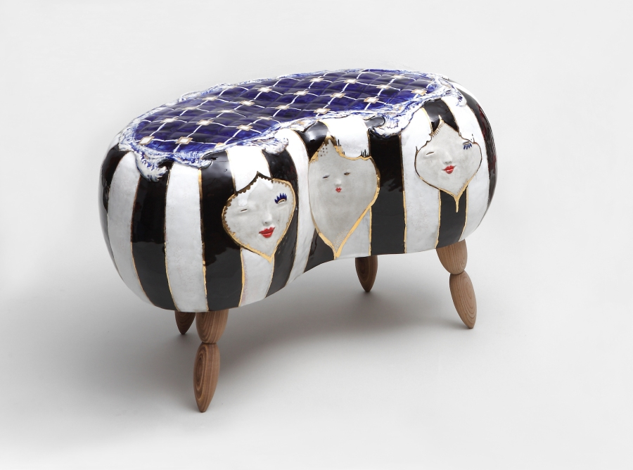 Jung Eun Han, Face stool series, Ceramic & Wood, 35x55x30cm, 2015