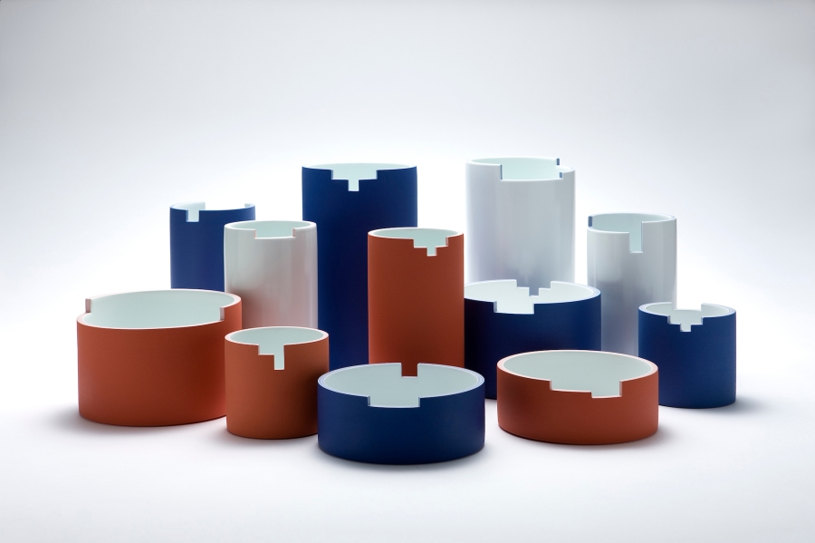 Min Soo Lee, Cylinders, white porcelain, stain,matt glaze, from left: ⌀17.5x10.5, ⌀10.5x17.5, ⌀10.5x17, ⌀10.5x10.5, ⌀14x23, ⌀17.5x7, ⌀10.5x16, ⌀17.5x10, ⌀14x23, ⌀17.5x8, ⌀10.5x14.5, ⌀10.5x10.5 cm, 2016