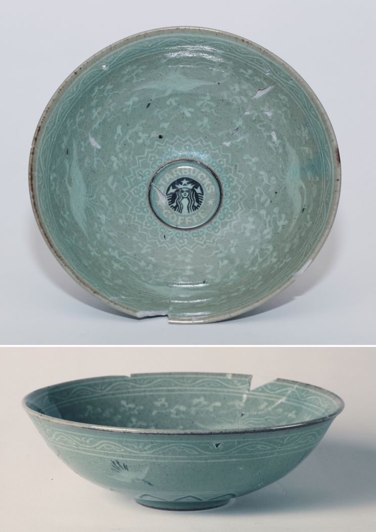 Eui Jeong Yoo, Bowl inlaid with a design of cloud and crane and Starbucks, Celadon, 16x16x5.5(h)cm, 2011