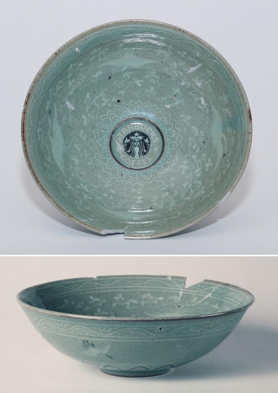 Eui Jeong Yoo, Bowl inlaid with a design of cloud and crane and Starbucks, Celadon, 16x16x5.5(h)cm, 2011