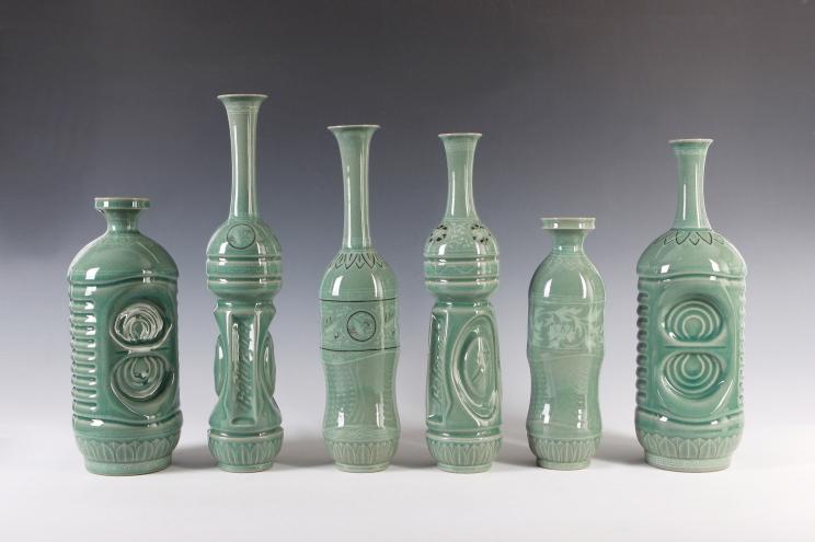 Eui Jeong Yoo, Celadon Bottle in the Shape of P.E.T bottle_ celadon_12x12x30cm~8.5x7x40cm 2013