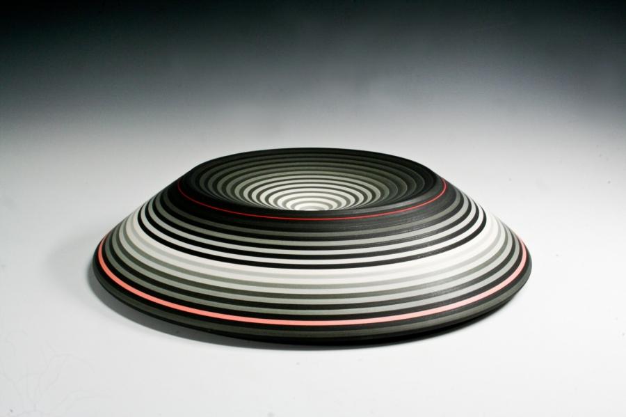 Jin Eui Kim, OPject – Mountain Ridged Form, Earthenware, 1120ºC Wheel-thrown and brushed 18 tones of engobes, 2016