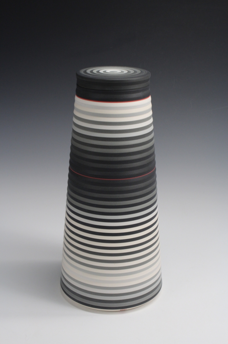 Jin Eui Kim, OPject – Cylindrical form, Earthenware, 1120ºC Wheel-thrown and brushed 18 tones of engobes, D:14.3 cm×H:30cm, 2016